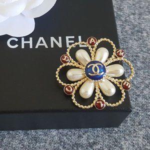 Authentic Chanel Brooch CC Pearl Multi-colored Pin
